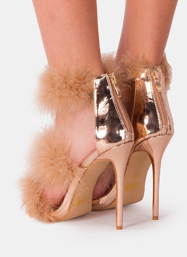 Пухени сандали с пера NAOMI - бежови